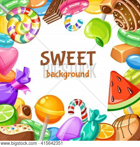 Colored Sweet Candy Background With Different Types Of Desserts Candies And Lollypops Vector Illustr