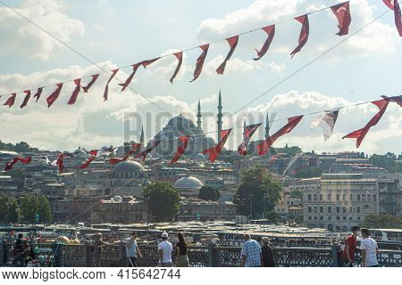 Flags Of Turkey Are Hung Over The Streets Of Istanbul. Political Elections In Turkey. Turkey , Istan