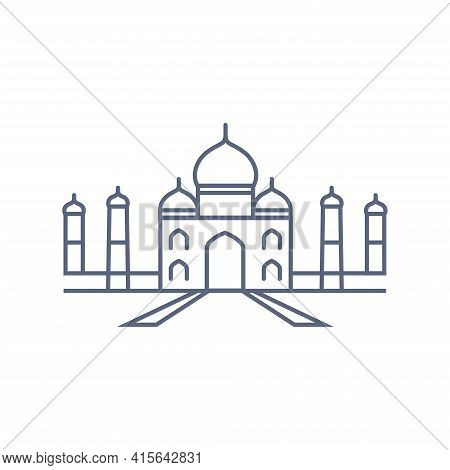Taj Mahal Line Icon - Indian Palace Simple Linear Pictogram On White Background. Vector Illustration