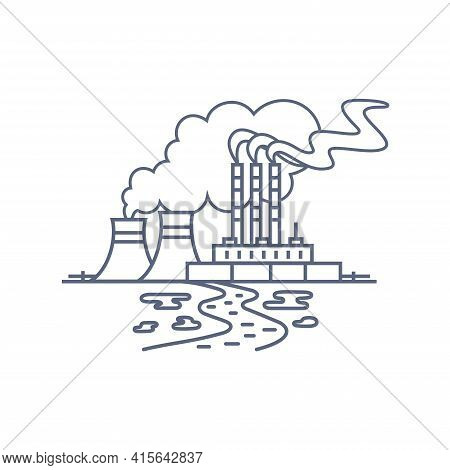 Thermal Power Plant Line Icon. Thermoelectric Power Station With Smoke From Chimneys And Traces Of S