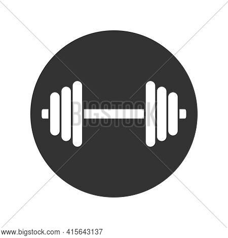 Dumbbell Graphic Icon. Dumbbell Sign In The Circle Isolated On White Background. Gym Symbol. Vector
