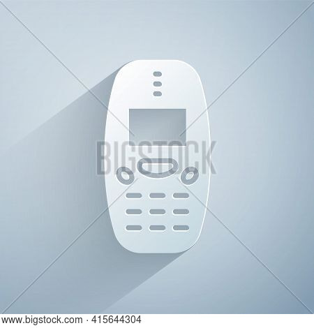 Paper Cut Old Vintage Keypad Mobile Phone Icon Isolated On Grey Background. Retro Cellphone Device.