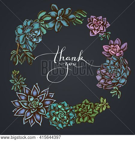 Dark Floral Wreath Of Succulent Echeveria, Succulent Echeveria, Succulent Stock Illustration