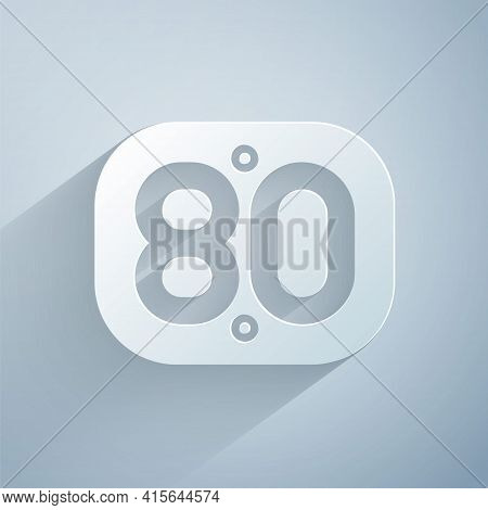 Paper Cut 80s Retro Icon Isolated On Grey Background. Eighties Poster. Paper Art Style. Vector