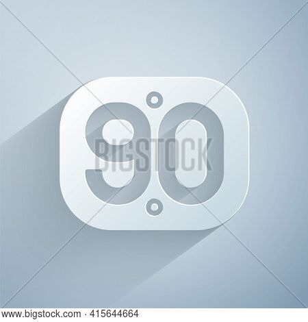 Paper Cut 90s Retro Icon Isolated On Grey Background. Nineties Poster. Paper Art Style. Vector