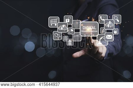 Businessman Touching To Virtual Screen Of Digital Transformation Wording And Icons, Business Technol