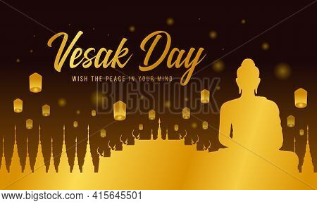 Vesak Day With Gold A Large Meditation Statue Of The Buddha In The Temple On Night Time And Lantern