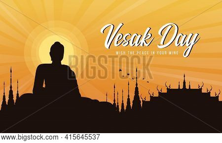 Vesak Day With A Large Meditation Statue Of The Buddha In The Temple And Sunset Evening Sun Vector D