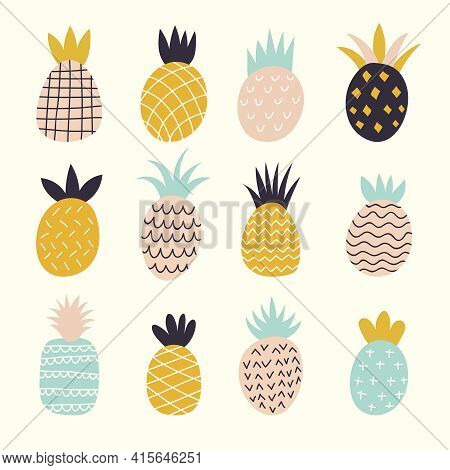 Doodle Pineapples. Colored Decorative Abstract Illustration Of Exotic Fruits Recent Vector Drawn Pin