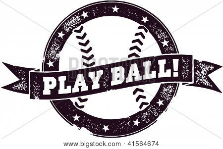 Vintage Style Play Ball Baseball Stamp