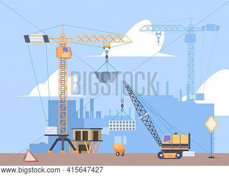 Constructions Crane. Builders Making Big House Engineering Build Cranes Workers Loader Machines Gari