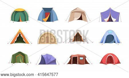 Tent. Shelter For Travellers From Cold Or Hot Weather Camping Symbols Environment Tent Of Hunters Ga