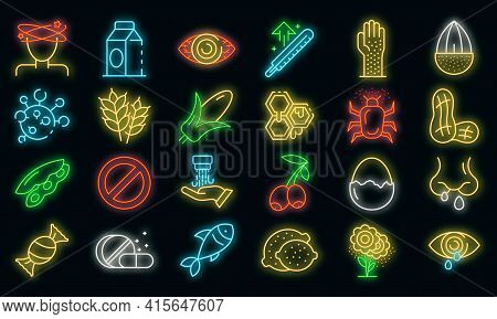 Food Allergy Icons Set. Outline Set Of Food Allergy Vector Icons Neon Color On Black