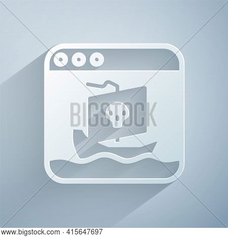 Paper Cut Internet Piracy Icon Isolated On Grey Background. Online Piracy. Cyberspace Crime With Fil
