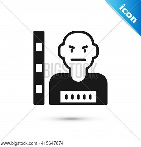 Grey Suspect Criminal Icon Isolated On White Background. The Criminal In Prison, Suspected Near The