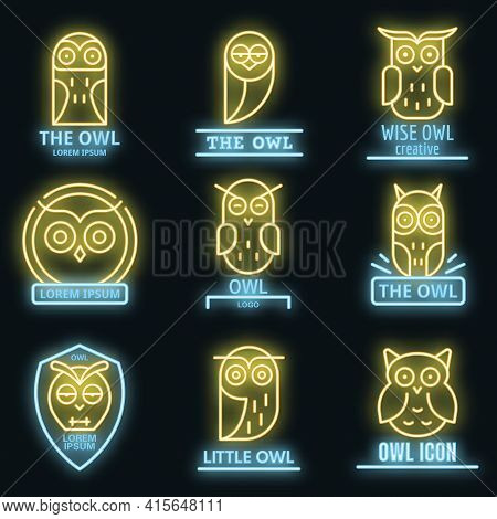 Owl Logo Set. Outline Set Of Owl Vector Logo Neon Color On Black