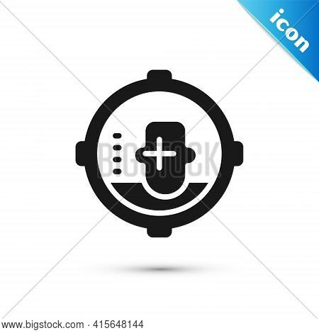 Grey Headshot Icon Isolated On White Background. Sniper And Marksman Is Shooting On The Head Of Man,