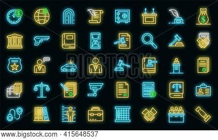 Lawyer Icons Set. Outline Set Of Lawyer Vector Icons Neon Color On Black