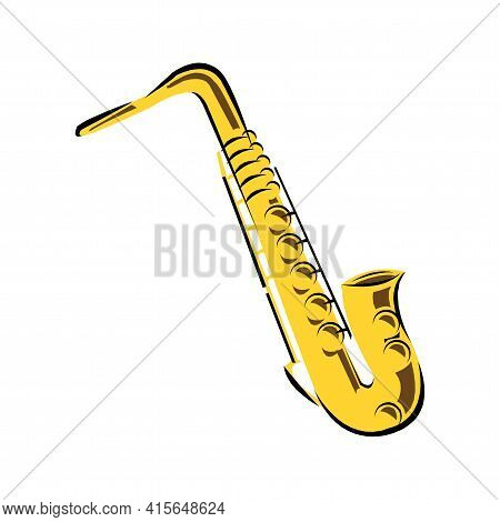 Golden Saxophone On White Background In Cartoon Style Isolated Vector Illustration