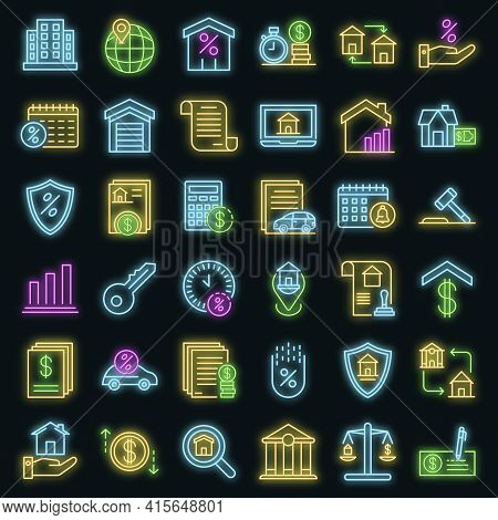 Mortgage Icons Set. Outline Set Of Mortgage Vector Icons Neon Color On Black