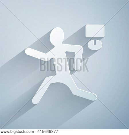 Paper Cut Murder Icon Isolated On Grey Background. Body, Bleeding, Corpse, Bleeding Icon. Concept Of
