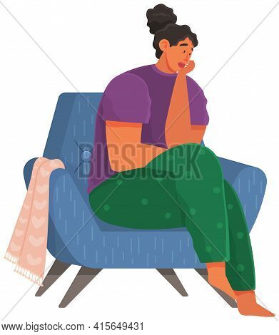 Young Unhappy Woman Dressed In Casual Clothes Sitting In Chair. Female Sad Character At Home