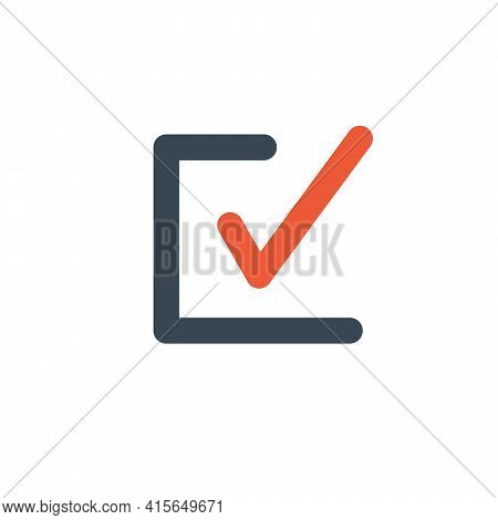Check List Button Icon. Check Mark In Box Sign. Choice Symbol. Yes Tick Icon. Done Symbol. Stock Vec