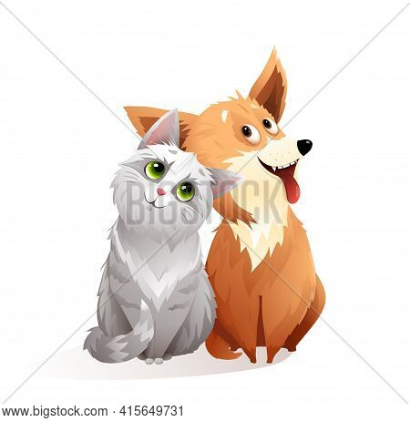 Adorable Cat And Dog Friendship Smiling Looking With Big Eyes, Funny And Fluffy Kitten And Puppy Sit