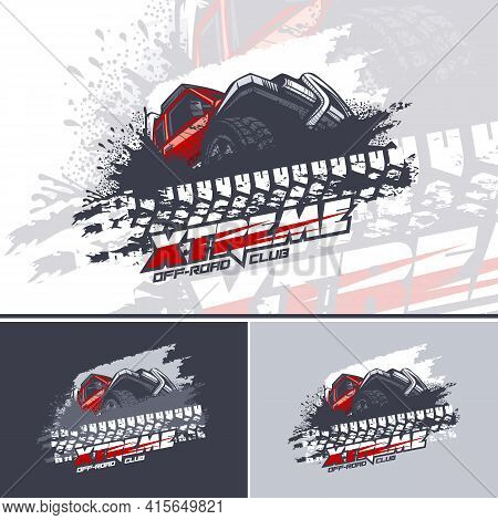 Red Off Road Car Logo Overcoming Mud Obstacles, Logo In Three Versions