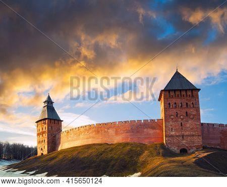 Veliky Novgorod, Russia. Fortress of Veliky Novgorod Kremlin, Veliky Novgorod Kremlin medieval fortress on the hill, spring travel landscape of Veliky Novgorod Russia landmark