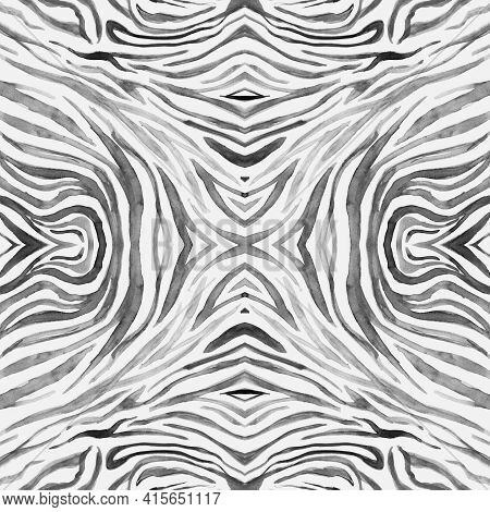 Seamless Zebra Pattern. Watercolor Animal Fur. White Zoo Background. Safari Lines Repeat. Zebra Text