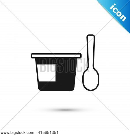 Grey Yogurt Container With Spoon Icon Isolated On White Background. Yogurt In Plastic Cup. Vector