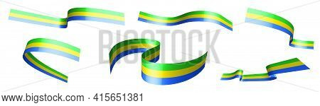 Set Of Holiday Ribbons. Flag Of Gabon Waving In Wind. Separation Into Lower And Upper Layers. Design