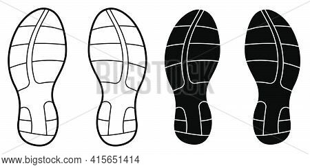 Sports Sneaker Sole, Running Shoes. Active Healthy Lifestyle. Black And White Vector