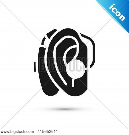 Grey Hearing Aid Icon Isolated On White Background. Hearing And Ear. Vector
