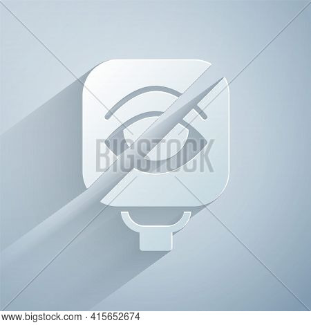 Paper Cut Blindness Icon Isolated On Grey Background. Blind Sign. Paper Art Style. Vector
