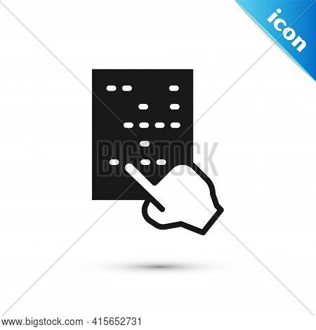 Grey Braille Icon Isolated On White Background. Finger Drives On Points. Writing Signs System For Bl
