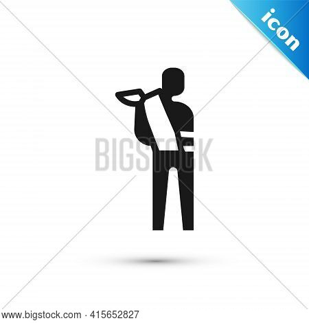 Grey Human Broken Arm Icon Isolated On White Background. Injured Man In Bandage. Vector