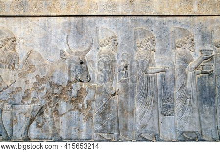 Ancient wall with bas-relief with assyrian foreign ambassadors with gifts and donations, Persepolis, Iran. UNESCO world heritage site