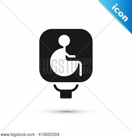 Grey Disabled Wheelchair Icon Isolated On White Background. Disabled Handicap Sign. Vector