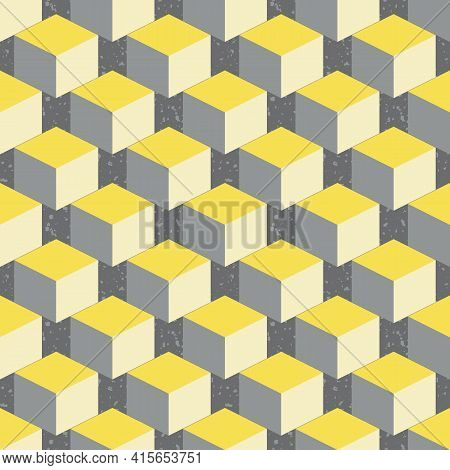 3d Isometric Cube Vector Seamless Pattern Background. Diagonal Rows Of Yellow Grey Cubes On Textured