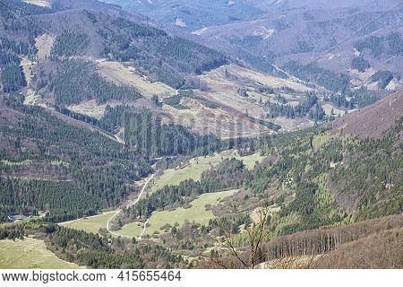 Country Scene From Klak Hill, Little Fatra, Slovak Republic. Travel Destination.