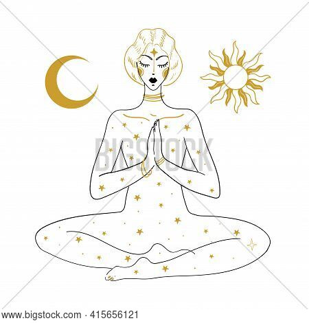 The Woman Is Meditating, Against The Background Of The Sun, The Moon And The Stars. Linear Drawing,