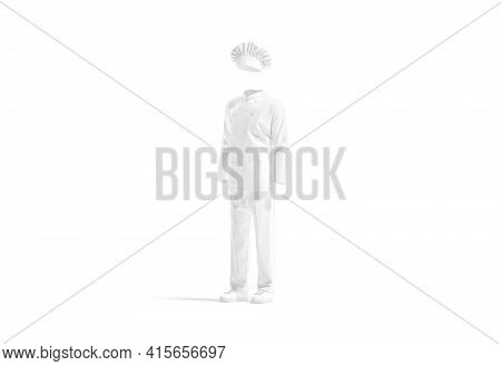 Blank White Chef Uniform Mockup, Side View, 3d Rendering. Empty Protection Wear For Hotel Service Or