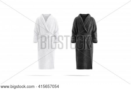 Blank Black And White Hotel Bathrobe Mockup Set, Front View, 3d Rendering. Empty Soft Nightwear For