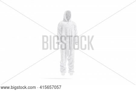Blank White Plush Jumpsuit With Hood Mockup, Side View, 3d Rendering. Empty Velour Night Costume For