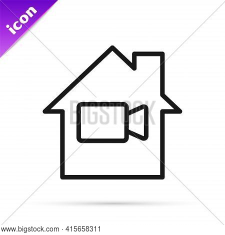 Black Line Video Camera Off In Home Icon Isolated On White Background. No Video. Vector