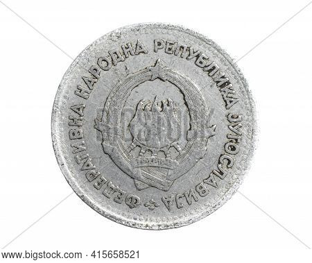 Yugoslavia One Dinar Coin On White Isolated Background