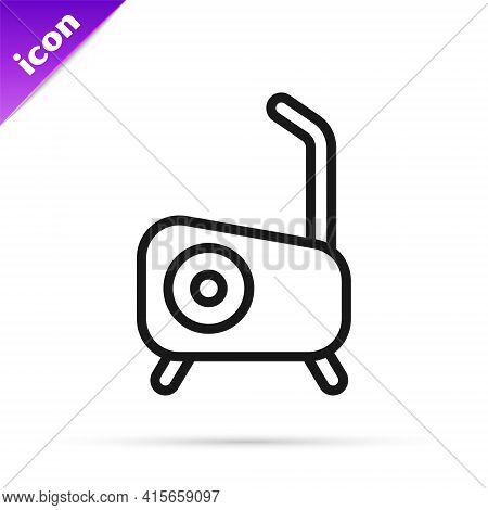 Black Line Stationary Bicycle Icon Isolated On White Background. Exercise Bike. Vector