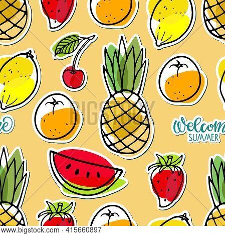 Seamless Pattern With Summer Seasonal Fruit Sticker Set. Welcome Summer Text. Watermelon, Pineapple,